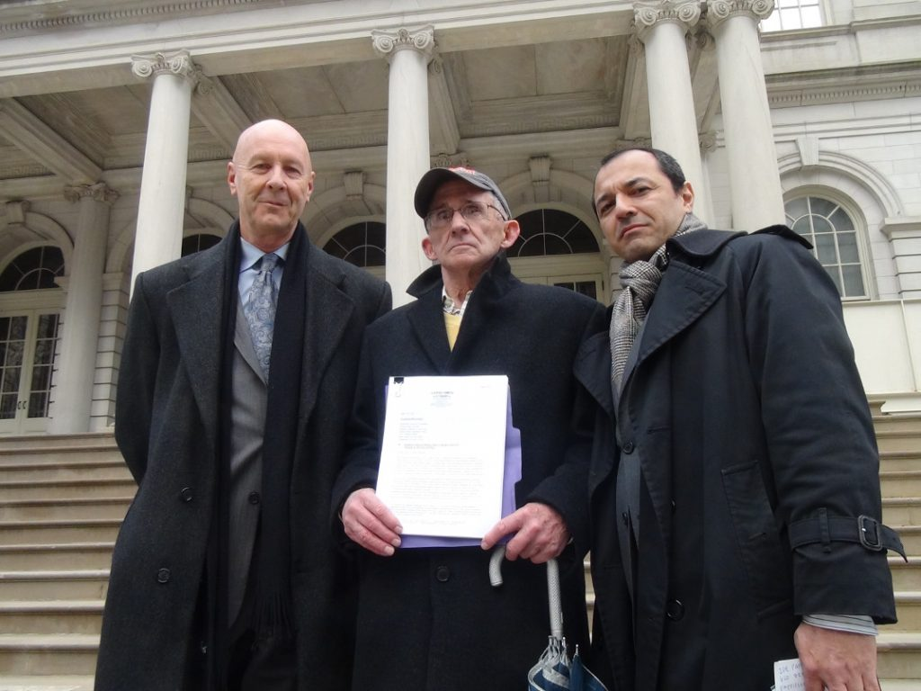 David Meiswinkle, Esq., Bob Mcilvaine with Grand Jury Petition, Julio Gomez, Esq. on steps of NYC Hall after presenting Grand Jury petition to United States Attorney in the Southern District in Manhattan.