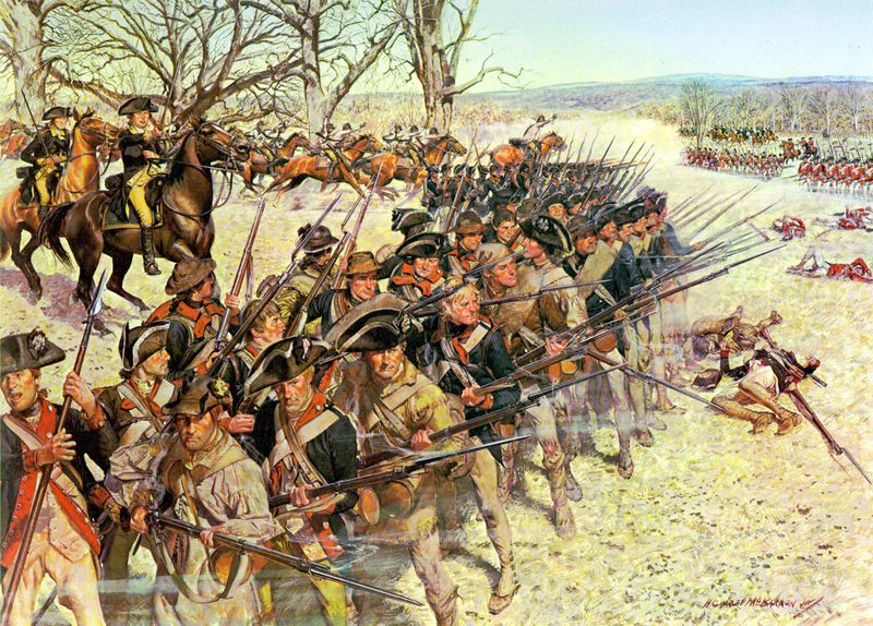 1st Maryland Regiment holding back the British at the Battle of Guilford Courthouse, North Carolina