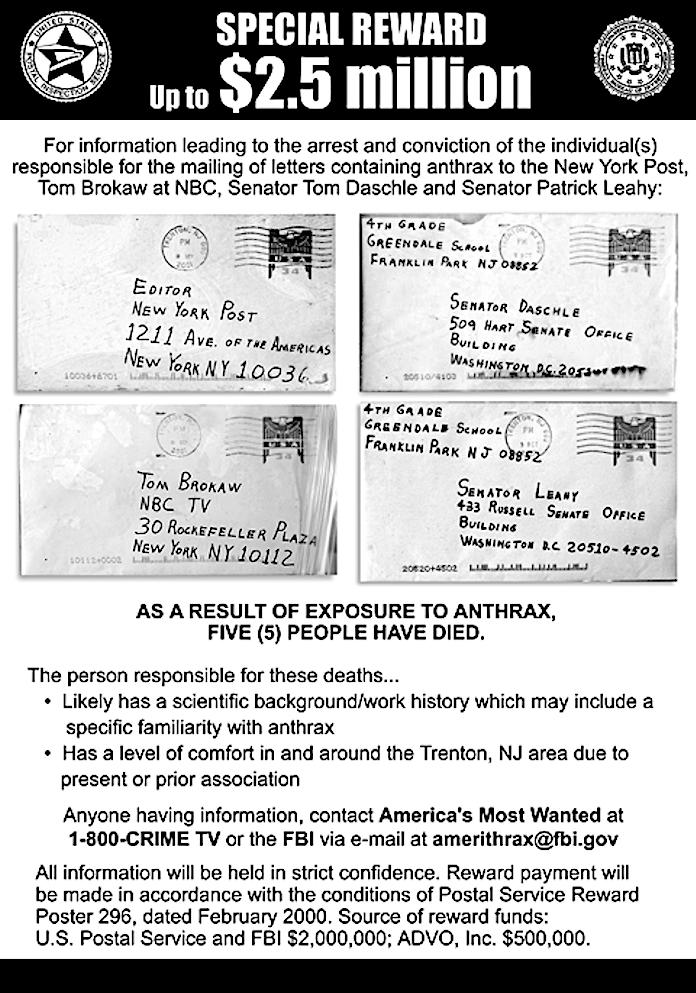 Anthrax Reward poster